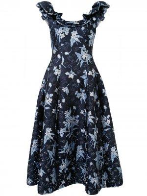 Платье с оборками Delpozo. Цвет: синий
