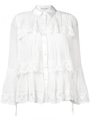 Рубашка с ярусной кружевной отделкой Alice+Olivia. Цвет: белый