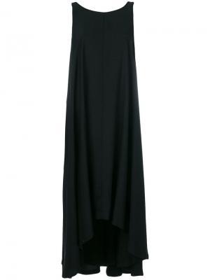 Асимметричное платье-миди без рукавов Yohji Yamamoto. Цвет: черный