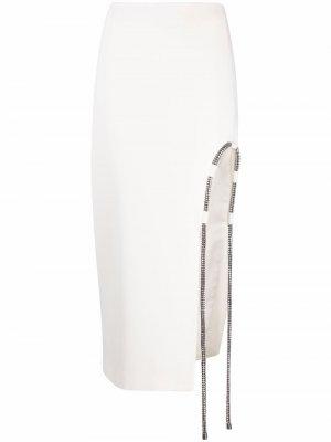 Юбка-карандаш с кристаллами David Koma. Цвет: белый