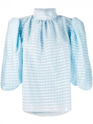 Блузка с высоким воротником Stine Goya. Цвет: синий