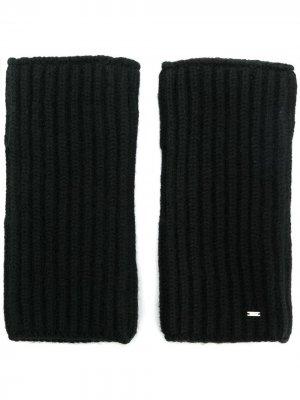 Трикотажные перчатки-митенки Saint Laurent. Цвет: черный