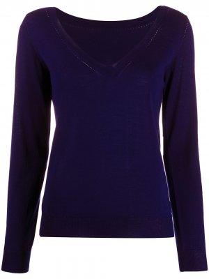 Трикотажный свитер с V-образным вырезом в рубчик P.A.R.O.S.H.. Цвет: синий