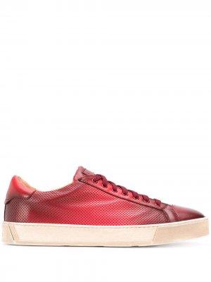 Кроссовки на шнуровке Santoni. Цвет: красный