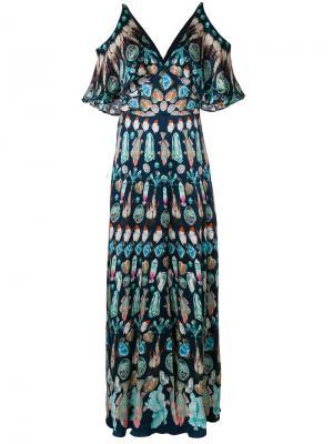 Платье макси с вырезными деталями на плечах Temperley London. Цвет: синий