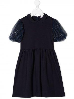 Платье с блестками Il Gufo. Цвет: синий