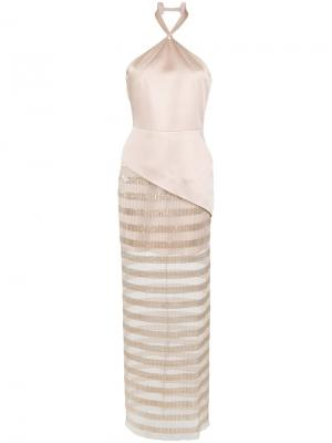 Sheer panels gown Gloria Coelho. Цвет: нейтральные цвета