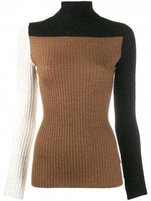 Джемпер в рубчик со вставками Nude. Цвет: коричневый