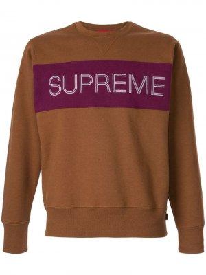Толстовка с логотипом Supreme. Цвет: коричневый
