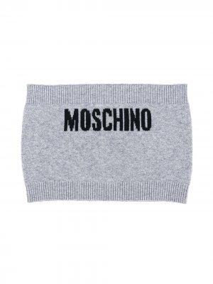 Трикотажная повязка с логотипом Moschino Kids. Цвет: серый