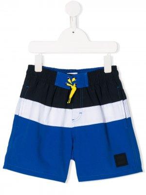Плавки-шорты в стиле колор-блок с кулиской BOSS Kidswear. Цвет: синий