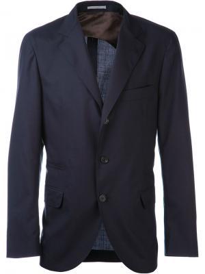 Пиджак на трех пуговицах Brunello Cucinelli. Цвет: синий