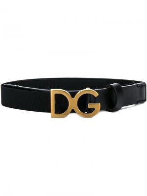 Ремень с пряжкой логотипом Dolce & Gabbana Kids. Цвет: черный