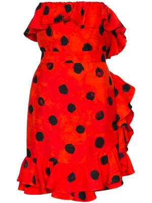 Платье мини в горох с оборками Moschino. Цвет: красный