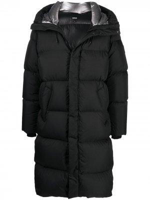 Длинное пальто с капюшоном Mackage. Цвет: черный