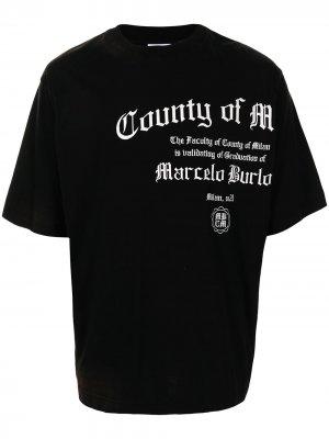 Футболка с логотипом Marcelo Burlon County of Milan. Цвет: черный