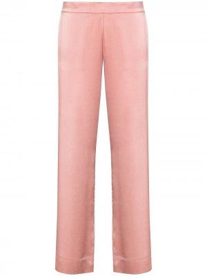 Прямые пижамные брюки Asceno. Цвет: розовый
