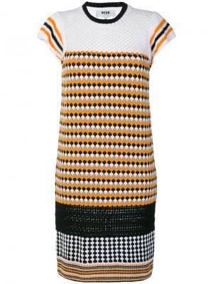 Вязаное платье с рисунком MSGM. Цвет: желтый