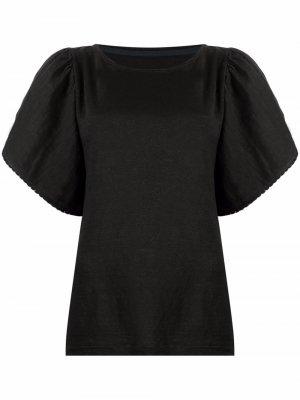 Блузка с пышными рукавами 120% Lino. Цвет: черный