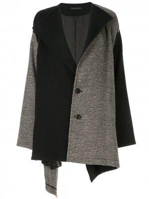 Ys пальто в стиле колор-блок с V-образным вырезом Y's. Цвет: серый