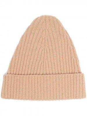 Трикотажная шапка в рубчик Maison Margiela. Цвет: нейтральные цвета