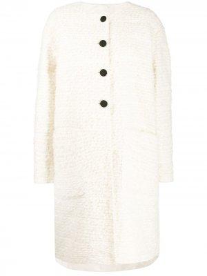 Фактурное однобортное пальто Rochas. Цвет: нейтральные цвета