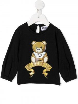 Топ с принтом Teddy Bear Moschino Kids. Цвет: черный