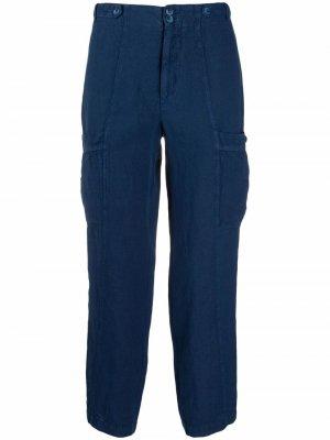Укороченные брюки карго 120% Lino. Цвет: синий