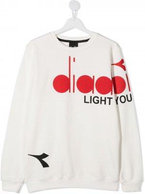 Толстовка с логотипом Diadora Junior. Цвет: белый