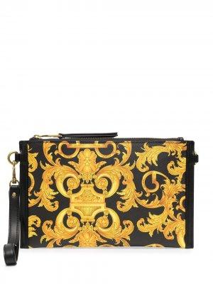 Клатч с принтом Barocco Versace Jeans Couture. Цвет: черный