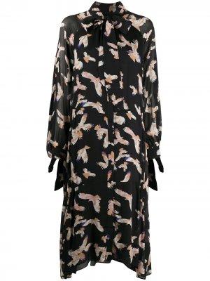 Платье с принтом и длинными рукавами Lala Berlin. Цвет: черный
