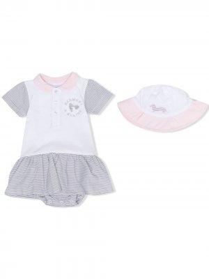 Комплект из платья и панамы с вышивкой Harmont & Blaine Junior. Цвет: белый