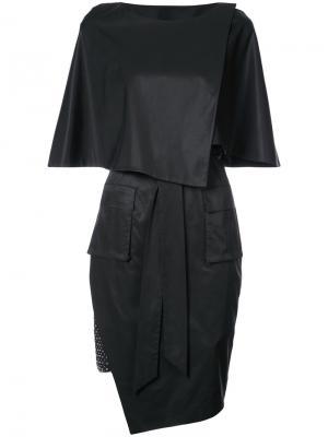 Приталенное платье асимметричного кроя Thomas Wylde. Цвет: черный