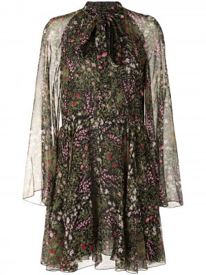 Платье мини А-силуэта с цветочным принтом Giambattista Valli. Цвет: черный