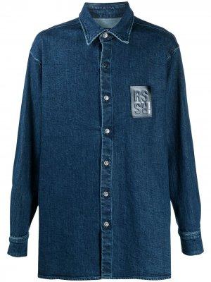Удлиненная джинсовая рубашка Raf Simons. Цвет: синий