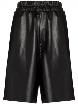 Широкие шорты из искусственной кожи Natasha Zinko. Цвет: черный