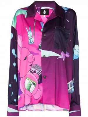 Рубашка Duo с графичным принтом Natasha Zinko. Цвет: фиолетовый
