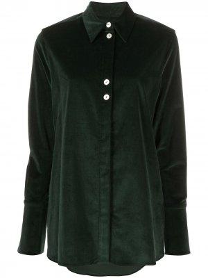 Рубашка в тонкую полоску с длинными рукавами Victoria Beckham. Цвет: зеленый