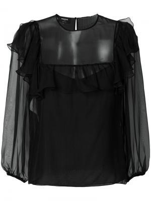 Полупрозрачная блузка с оборками Rochas. Цвет: черный