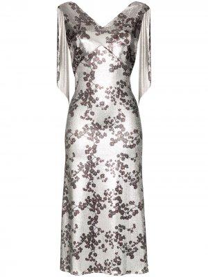 Платье миди с цветочным принтом и цепочкой Paco Rabanne. Цвет: серебристый