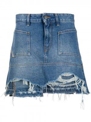 Джинсовая юбка мини с эффектом потертости Diesel. Цвет: синий