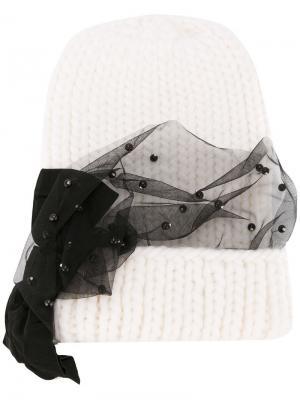 Mesh trim knitted hat Eugenia Kim. Цвет: белый