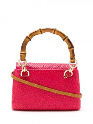 Плетеная сумка с бамбуковой ручкой SERPUI. Цвет: розовый