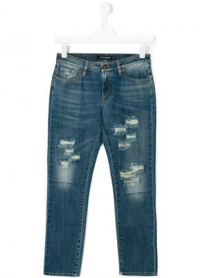 Состаренные джинсы European Culture Kids. Цвет: синий