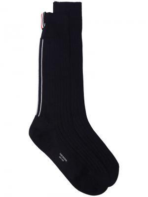 Удлиненные носки в трех цветах Thom Browne. Цвет: синий