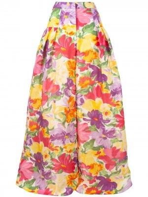 Широкие брюки с цветочным принтом Carolina Herrera. Цвет: желтый
