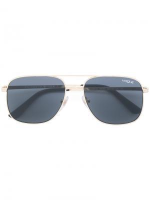 Солнцезащитные очки-авиаторы с затемненными линзами Vogue Eyewear. Цвет: металлик