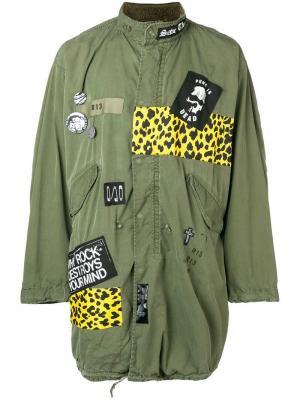 Удлиненная куртка свободного кроя R13. Цвет: зеленый