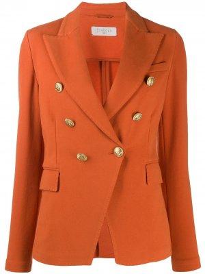 Двубортный пиджак с тиснеными пуговицами Circolo 1901. Цвет: оранжевый