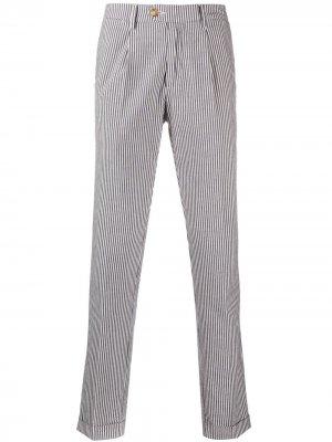 Полосатые брюки строгого кроя Seventy. Цвет: синий